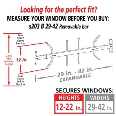 Removable 29 in. to 42 in. Adjustable Width 1-Bar Window Guard, White