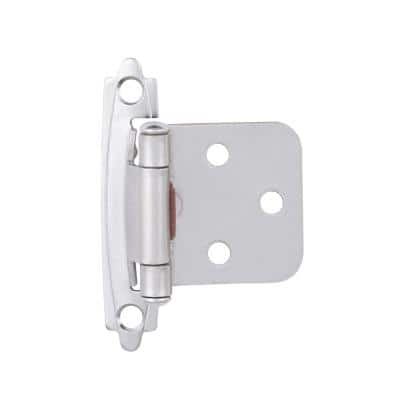 Satin Nickel Self-Closing Overlay Cabinet Hinge (1-Pair)