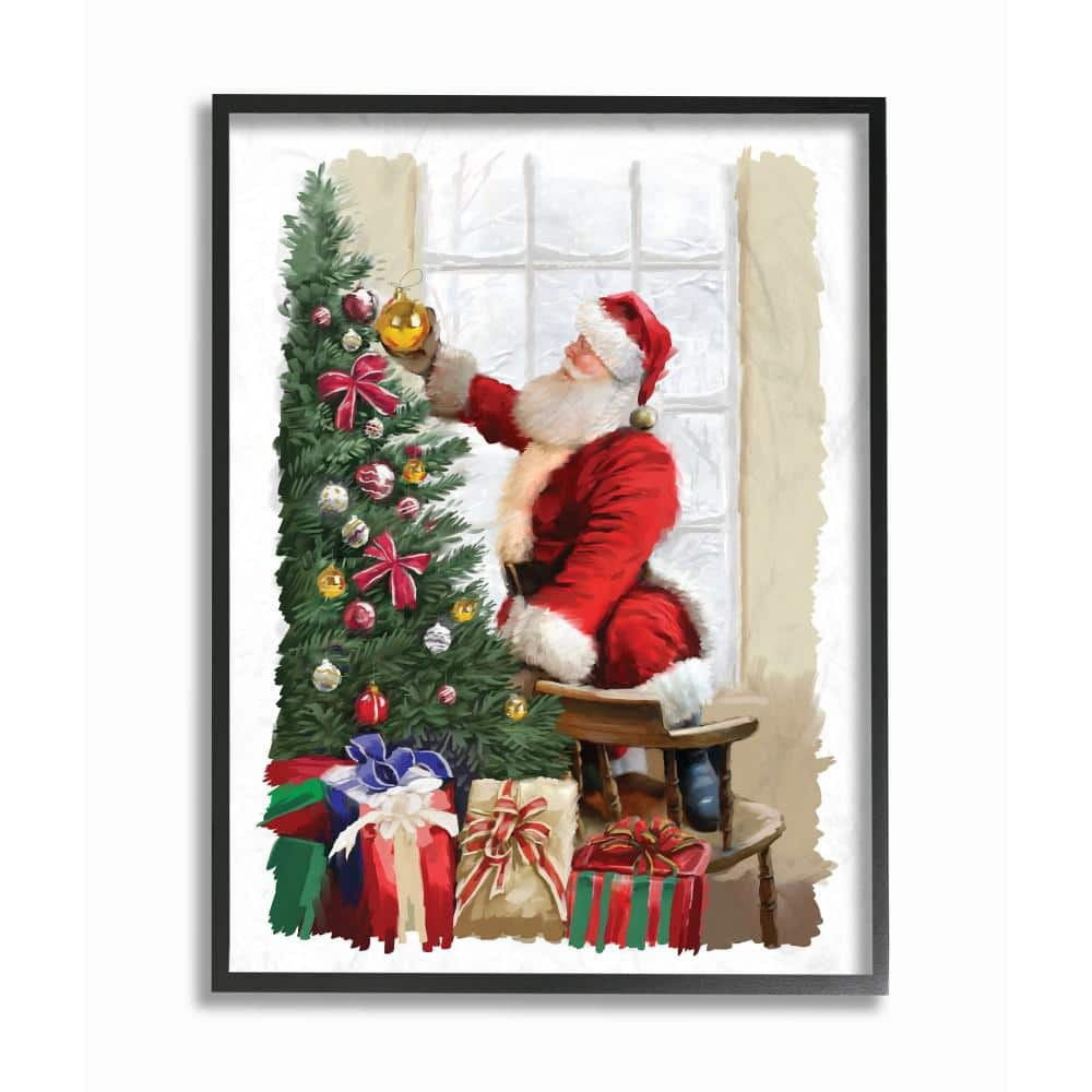 Stupell Industries 11 In X 14 In Holiday Santa Decorating Christmas Tree With Gifts Painting By Artist P S Art Framed Wall Art Hwp 255 Fr 11x14 The Home Depot