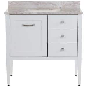 Hensley 37 in. W x 22 in. D Bath Vanity in White with Stone Effects Vanity Top in Winter Mist with White Sink