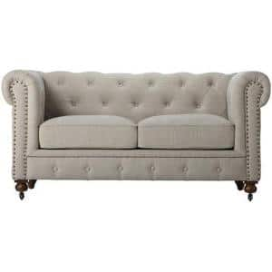 Gordon 66 in. Natural Leather 2-Seater Chesterfield Loveseat with Removable Cushions