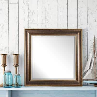 Medium Square Brown Modern Mirror (23 in. H x 23 in. W)