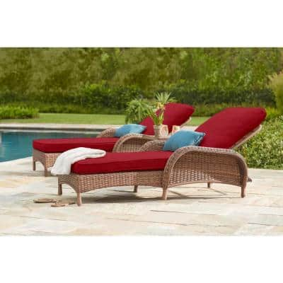 Beacon Park Brown Wicker Outdoor Patio Chaise Lounge with CushionGuard Chili Red Cushions