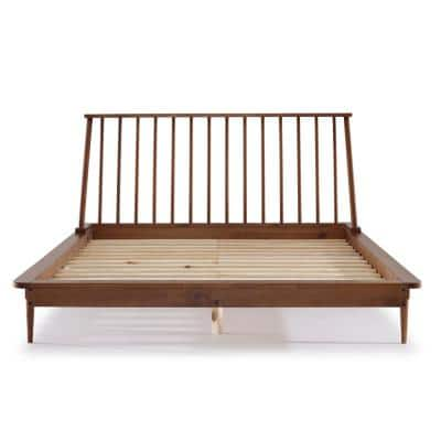 Solid Wood Modern Caramel Queen Spindle Bed