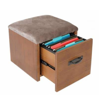 Industrial Collection Hewn Pallet Decorative Vertical File Cabinet Seat, Casters, 1-File Drawer