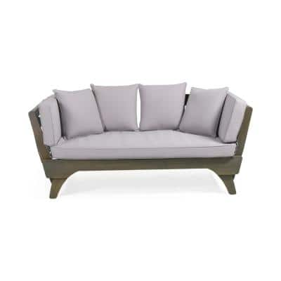 Serene Grey Wood Expandable Outdoor Day Bed with Grey Cushions