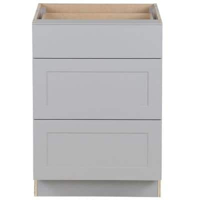 Cambridge Shaker Assembled 24 in. x 35 in. x 25 in. Base Cabinet with 3-Soft Close Drawers in Gray