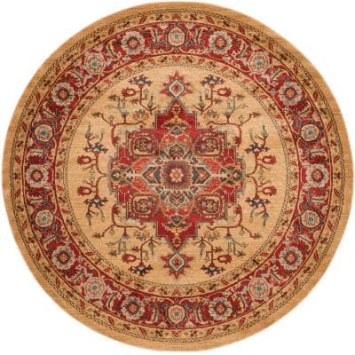 Mahal Red/Natural 9 ft. x 9 ft. Round Border Area Rug