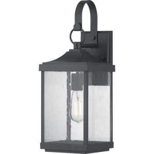 Matte Black Outdoor Wall Lantern with Clear Glass Macstreet 1-Light 12 in