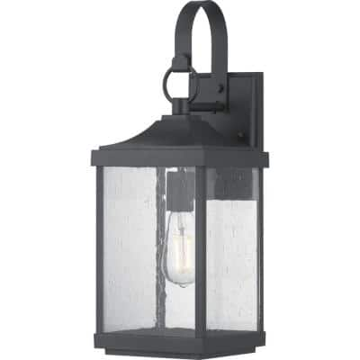 Park Court 1-Light 19 in. Textured Black Outdoor Wall Lantern with Clear Seeded Glass