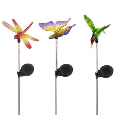 33 in. Tall Butterfly, Hummingbird, Dragonfly Solar Fiber Optic Multi-Colored LED Path Light Garden Stakes (Set of 3)