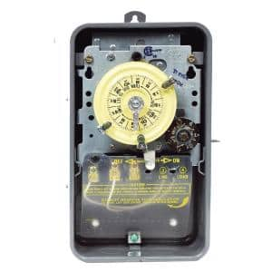 T170 Series 40 Amp 24-Hour Mechanical Time Switch with Skipper - Carryover and Outdoor Enclosure - Gray