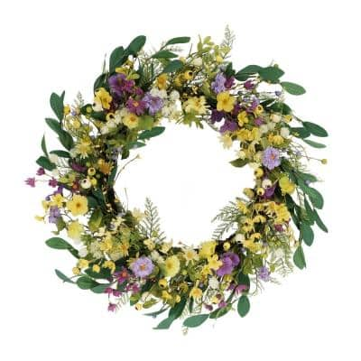 30 in. Artificial Dogwood and Daisy and Poppy Floral Spring Wreath