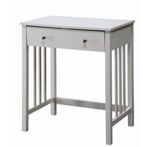 Designs2Go Mission 26 in. Rectangular White Wood Writing Desk with Keyboard Tray