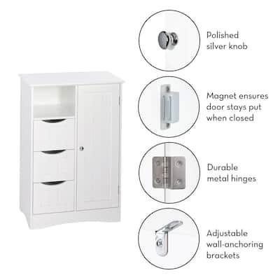 Ashland 22 in. W x 32 in. H Bathroom Linen Storage Floor Cabinet in White