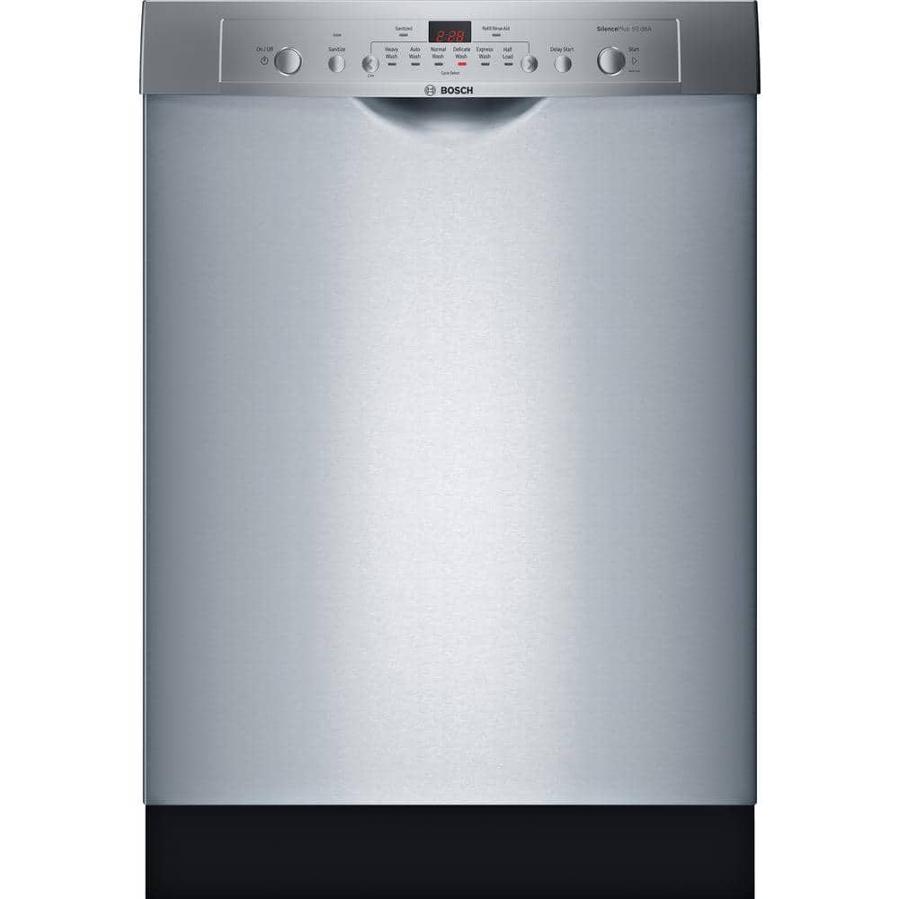 Bosch Ascenta 24 In Stainless Steel Front Control Tall Tub Dishwasher With Hybrid Stainless Steel Tub 50 Dba She3ar75uc The Home Depot