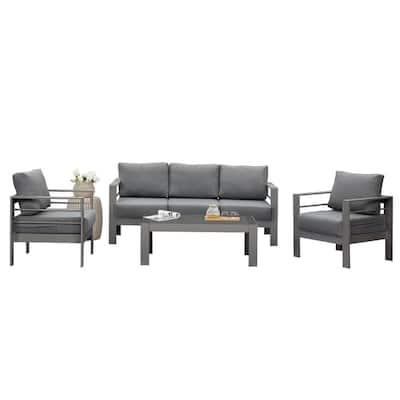 Grey 4-Piece Aluminum Patio Conversation Set with Dark Grey Cushions