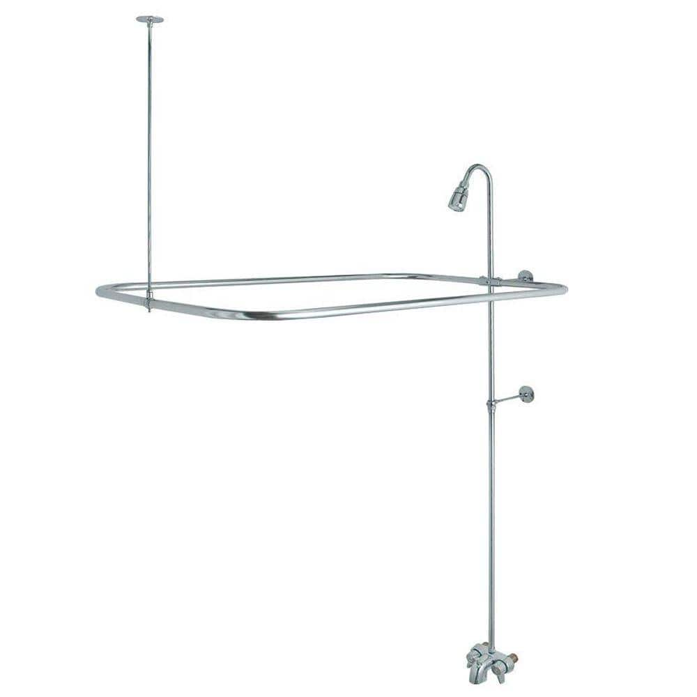 Chrome Three Way Add-A-Shower Clawfoot Tub Diverter Faucet Kit With Hand Shower