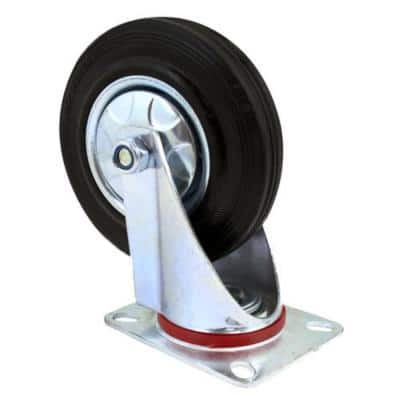 5 in. Heavy-Duty Rubber Swivel Wheel Plate Casters with 375 lbs. Load Rating (2-Piece)