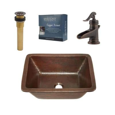 Hawking All-In-One 17 in. Undermount Copper Bathroom Sink with Pfister Rustic Bronze Centerset Faucet and Drain