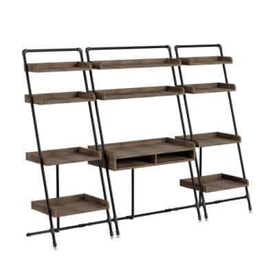 Kasia 71 in. H Reclaimed Oak Leaning 3-Piece Desk and Bookcase Set With Leveling Feet