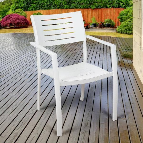 Atlantic Jordan White Stackable, White Patio Dining Chairs