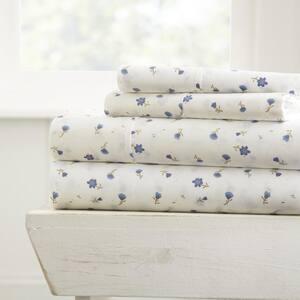 Home Collection 4-Piece Light Blue Floral Microfiber King Sheet Set