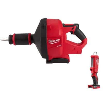 M18 FUEL 18-Volt Lithium-Ion Cordless Drain Cleaning Snake Auger with 5/16 in. Cable Drive with M18 LED Stick Light