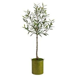 4.5ft. Olive Artificial Tree in Green Planter