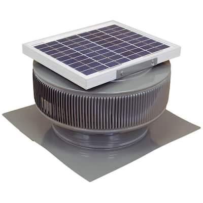 740 CFM Weatherwood Powder Coated 10-Watt Solar Powered 12 in. Dia. Roof Mounted Attic Exhaust Fan