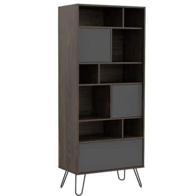 Aster 67 in. Brown Walnut Composite Wood 9 -Shelf Industrial Bookcase
