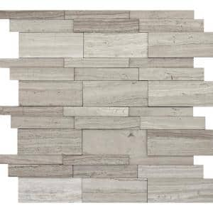 Limestone Gray Honed 12.01 in. x 12.01 in. x 10 mm Limestone Mesh-Mounted Mosaic Tile (1 sq. ft.)