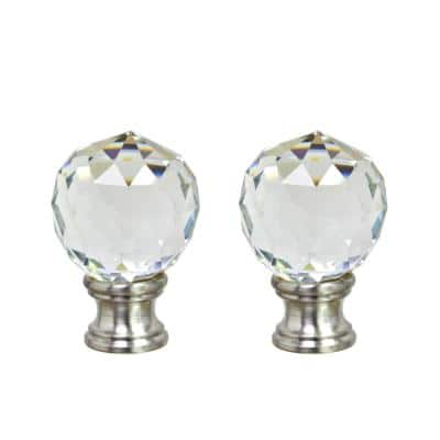 1-3/4 in. Clear Faceted Crystal Lamp Finial with Brushed Nickel (2-Pack)