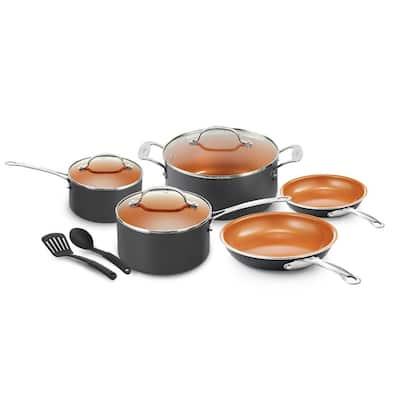 10- Piece Aluminum Ti-Ceramic Nonstick Coating Cookware Set with Utensils