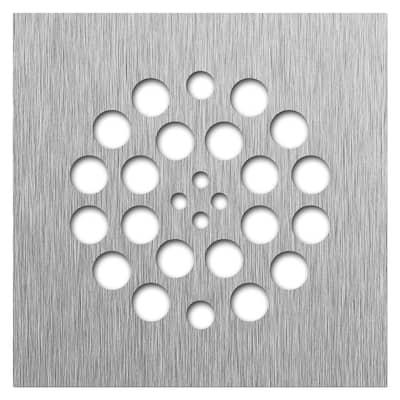 Redi Drain 4.25 in. x 4.25 in. Square Drain Plate in Brushed Nickel