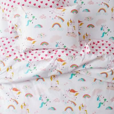 Playful Unicorn Multicolored Graphic Organic 200-Thread Count Cotton Percale Standard Pillowcase (Set of 2)