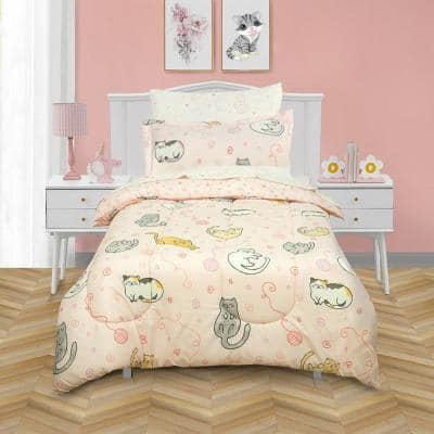 Sleepy Cats Super Soft Pink Microfiber Twin Bed in a Bag with Reversible Comforter and Sheet Set