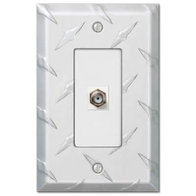 Diamond Plate 1 Gang Coax Aluminum Wall Plate - Aluminum