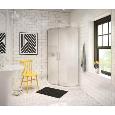 Radia 36 in. x 36 in. x 71-1/2 in. Frameless Neo-Angle Sliding Shower Door with Mistelite Glass in Brushed Nickel