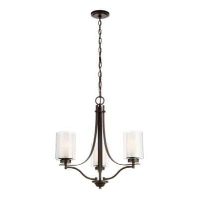 Elmwood 3-Light Bronze Modern Transitional Candlestick Chandelier with Satin Etched Glass Shades and LED