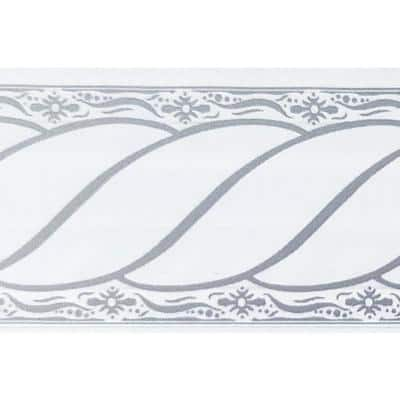 Falkirk McGhee Peel and Stick Damask Grey, White Scrolls Self Adhesive Wallpaper Border