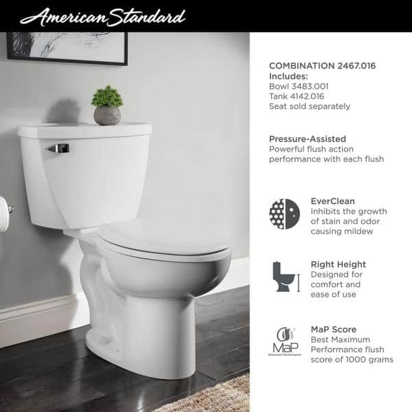 American Standard Cadet 2 Piece 1 6 Gpf Tall Height Pressure Assisted Elongated Toilet In White Seat Not Included 2467 016 020 The Home Depot