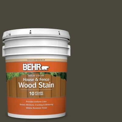 5 gal. #T16-01 Black Pearl Solid Color House and Fence Exterior Wood Stain