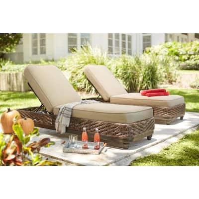 Camden Dark Brown Wicker Outdoor Chaise Lounge with Sunbrella Antique Beige Cushions (2-Pack)