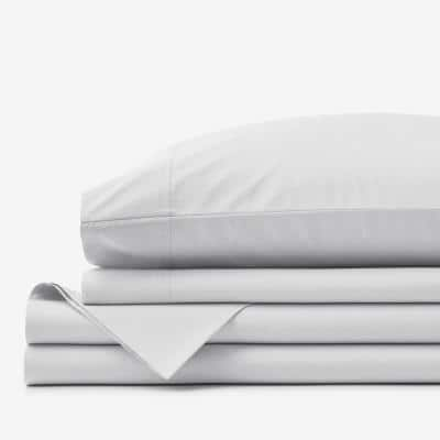 4-Piece Pearl Gray Solid 400-Thread Count Supima Cotton Percale Queen Deep Pocket Sheet Set