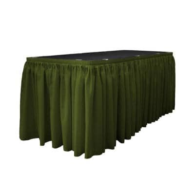 14 ft. x 29 in. Long Olive Polyester Poplin Table Skirt with 10 L-Clips