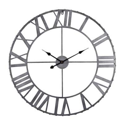 Utopia Alley Rivet Edge Roman Industrial Wall Clock, Pewter, 32 in.