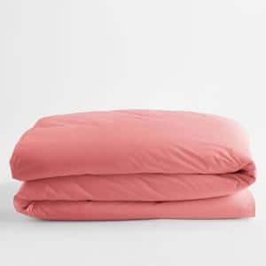 Classic Pink Lemonade Solid Cotton Percale Twin XL Duvet Cover
