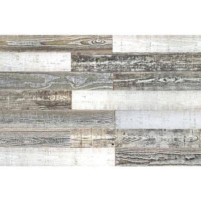 Thermo-treated 1/4 in. x 5 in. x 4 ft. White, Gray and Black Barn Wood Wall Planks (10 Sq. ft. per 6 Pack)