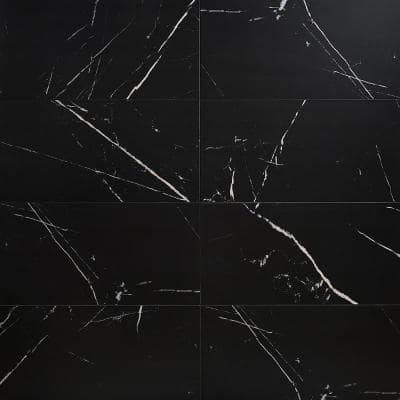 Essential Marble Nero Marquina 12 in. x 24 in. Porcelain Floor and Wall Tile (11.62 sq. ft./Case)